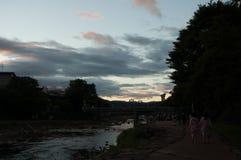 заход солнца японии Стоковое Изображение RF