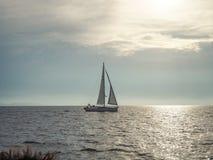 Заход солнца яхты Стоковое Изображение