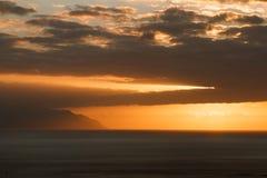 Заход солнца Adeje Стоковое фото RF