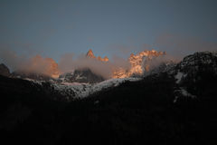 Заход солнца Aiguille du Midi Стоковое Фото