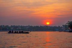 Заход солнца Amphawa Стоковая Фотография