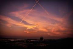 Заход солнца Boatyard Heswall Wirral Великобритании Стоковые Изображения