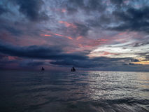 Заход солнца Boracay Филиппин Стоковые Фотографии RF