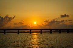 Заход солнца Brigde Стоковые Изображения