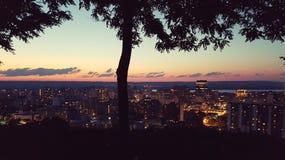 Заход солнца Canadaday 150 стоковая фотография rf
