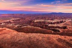 Заход солнца Canyonlands Стоковое Фото