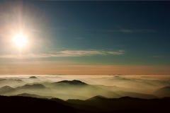 Заход солнца Ceahlau Стоковая Фотография