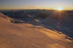 Заход солнца Cervinia Стоковое Фото
