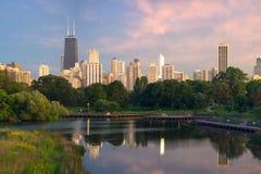 заход солнца chicago Стоковые Изображения RF