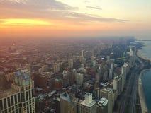 заход солнца chicago Стоковое Изображение