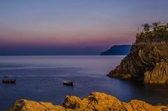 Заход солнца Cinque Terre Италия Стоковая Фотография