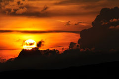 Заход солнца cluj-Napoca Стоковая Фотография RF