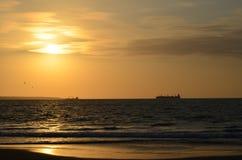 Заход солнца Colan - Piura - Перу Стоковое Фото