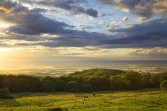 Заход солнца Cotswolds Стоковые Фотографии RF