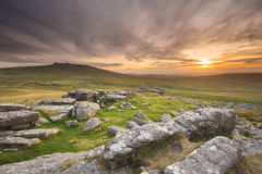 Заход солнца Dartmoor Стоковые Изображения