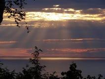 Заход солнца Door County Стоковые Фото
