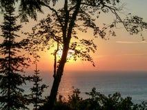 Заход солнца Door County Стоковая Фотография RF