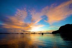 Заход солнца El Nido Стоковое фото RF