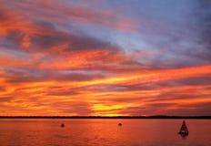 Заход солнца Erie Стоковое Изображение