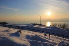 заход солнца everest mt Hakodate Хоккаидо Япония в зиме Стоковые Изображения
