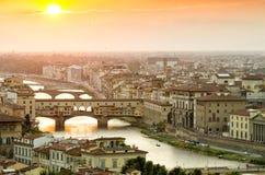 заход солнца florence Италии Стоковые Фото