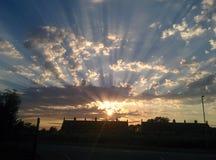Заход солнца Glastonbury стоковые фото