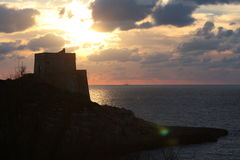Заход солнца, Gozo стоковая фотография rf