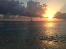 Заход солнца Grand Cayman Стоковая Фотография RF