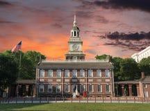 Заход солнца Hall Филадельфии независимости Стоковое фото RF