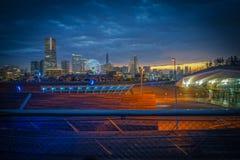Заход солнца HDR вида на город Японии Иокогама Стоковые Фото