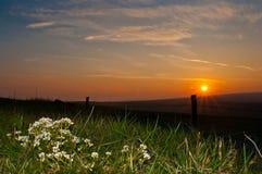 Заход солнца Hebden Йоркшир стоковое изображение