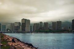 заход солнца Hong Kong Стоковое Фото