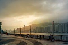 заход солнца Hong Kong Стоковое фото RF