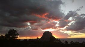 Заход солнца Ibiza Es Vedra Стоковое фото RF