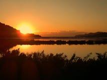 Заход солнца Ibiza saltplains Salinas Стоковое Изображение