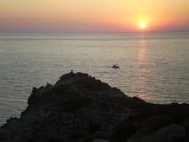 Заход солнца Ikaria Стоковая Фотография