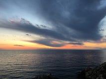 Заход солнца Istrian стоковое изображение