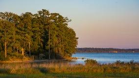 Заход солнца James River стоковое фото rf