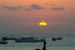 Заход солнца Jimbaran, Бали, Индонезия Стоковая Фотография