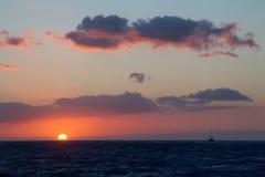заход солнца kauai Стоковая Фотография RF