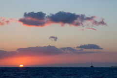 заход солнца kauai Стоковые Изображения