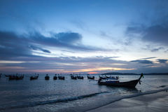 Заход солнца, Krabi, Таиланд Стоковая Фотография RF