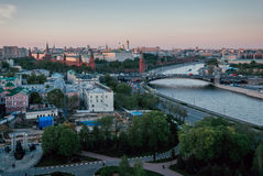 заход солнца kremlin moscow Стоковая Фотография