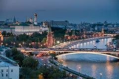 заход солнца kremlin moscow Стоковая Фотография RF