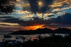 Заход солнца Labuan Bajo стоковое изображение rf