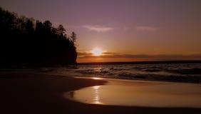 Заход солнца Lake Superior Стоковая Фотография RF
