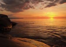 Заход солнца Lake Superior Стоковое Изображение
