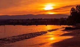 Заход солнца Leman озера Стоковое Изображение