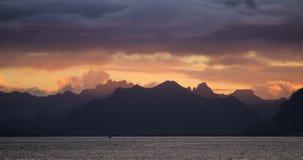 Заход солнца Lofoten Стоковая Фотография RF