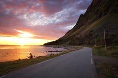Заход солнца Lofoten Стоковые Фотографии RF